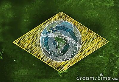 Brasil Flag Sketch Soccer Edition