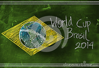 Brasil flag 2014 World Cup Sketch Editorial Image