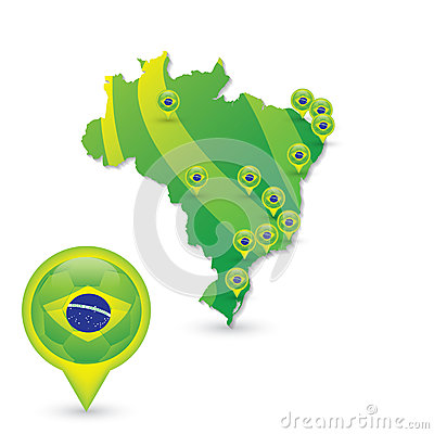 Brasil Soccer green map and match Editorial Image