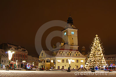 Brasov center in Christmas days, Romania Editorial Photography