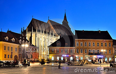 Brasov Council Square and Black Church, Romania Editorial Stock Image