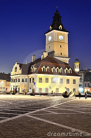 Brasov Council Square, night view in Romania