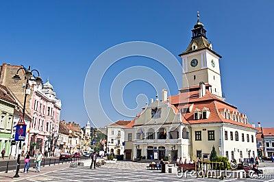 Brasov Council Square (Piata Sfatului). Editorial Stock Image