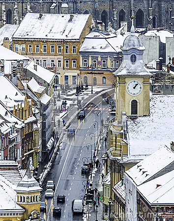 Free Brasov, Transylvania, Romania - December 28, 2014: A View Of One Of The Main Streets In Downtown Brasov With Important Buildings Stock Photo - 57776000