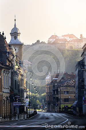 Free Brasov, Transylvania, Romania - July 28, 2015: A View Of One Of The Main Streets In Downtown Brasov Stock Image - 57776161