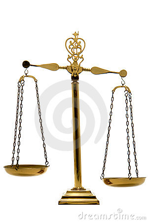 Brass Balance Scale of Justice and Law Isolated
