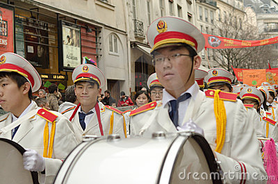 Brass band during chinese new year 2014 in Paris Editorial Image