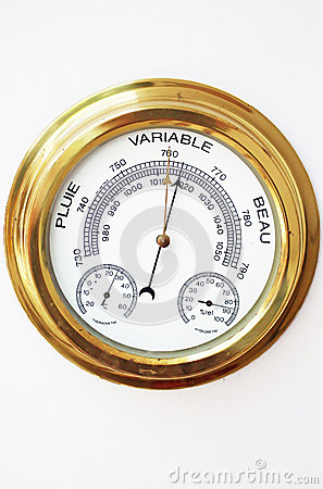 Free Brass Barometer, Thermometer, Hygrometer With White Face Stock Image - 47192231