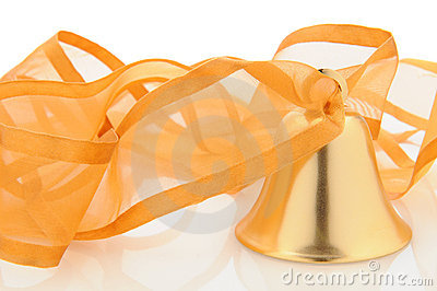 Brass bell with ribbon