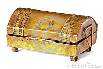 Brass box on white table