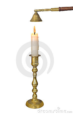 Free Brass Candlestick With Candle Isolated. Stock Photo - 23367520