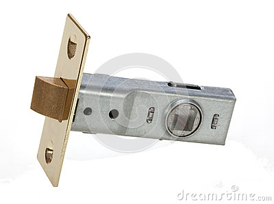 Brass interior door latch for securing door shut.