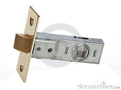 Brass interior door latch for securing door shut.
