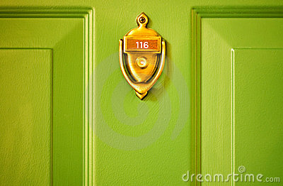 Brass Knocker Green Door