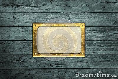 Brass plate on blue boards