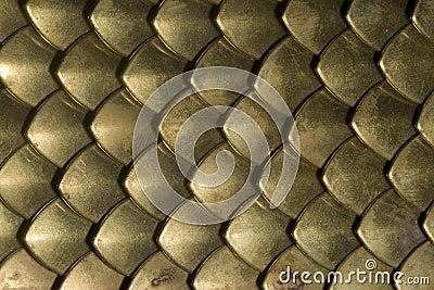 Brass plate chainmail closeup