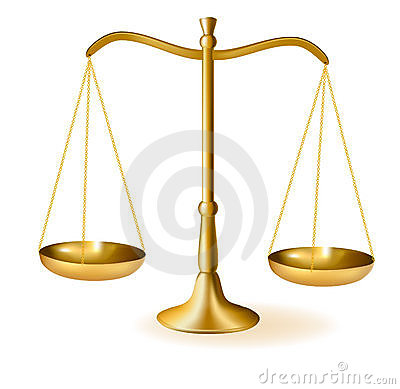 Brass scales of justice. Vector.