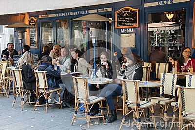Brasserie in Paris Editorial Stock Photo