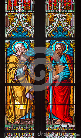 Free Bratislava - Apostle Peter And Paul On Windowpane In St. Martin Cathedral. Stock Photos - 37063823
