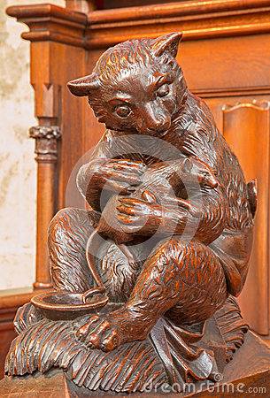 Bratislava - Bear and rodent carved symbolic  sculpture from bench in st. Matins cathedral