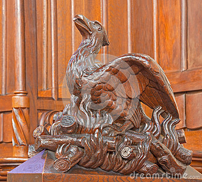 Bratislava - Bird on the fire symbolic carved sculpture from bench in st. Matins cathedral