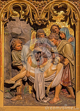 Free Bratislava - Burial Of Jesus Scene. Carved Relief From 19. Cent. In St. Martin Cathedral. Royalty Free Stock Photography - 37770337