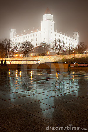 Bratislava castle in the fog with reflections