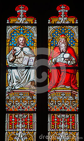 Free Bratislava - Christ And God The Father On Windowpane In St. Martin Cathedral. Stock Photography - 37062072