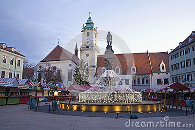 Bratislava - Christmas market on the Main square in morning Editorial Image