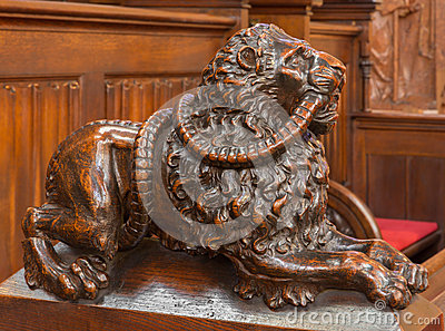 Bratislava - Dog symbolic carved sculpture from bench in presbytery in st. Matins cathedral