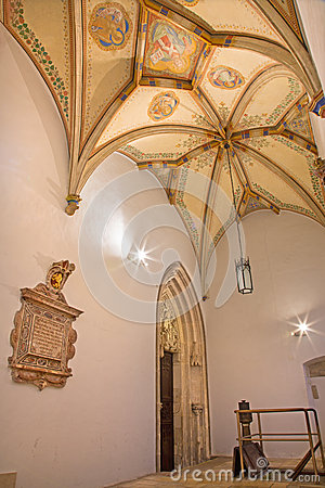 Free Bratislava - Fresco Of Jesus Christ And Four Evangelists Symbols. Ceiling Of St. Ann Gothic Side Chapel Royalty Free Stock Images - 38092739