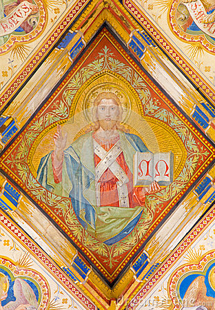 Free Bratislava - Fresco Of Jesus Christ From St. Ann Gothic Side Chapel By Carl Jobst From 19. Cent. In St. Martin Cathedral. Royalty Free Stock Photos - 37769468
