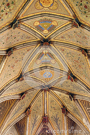Free Bratislava - Fresco On Gothic Ceiling From Presbytery Of St. Martin Cathedral. Royalty Free Stock Photo - 37063405