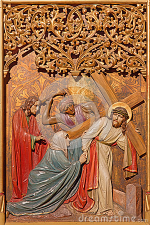Free Bratislava - Jesus Under Cross Meets His Mother. Carved Relief From 19. Cent. In St. Martin Cathedral. Stock Images - 37777364