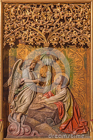 Free Bratislava - Prayer Of Jesus In Gethsemane Garden On Gothic Side Altar In St. Martin Cathedral. Royalty Free Stock Image - 37064466