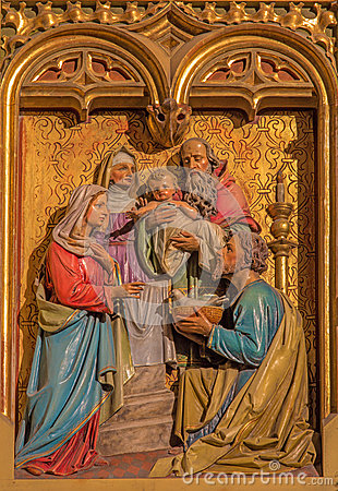 Free Bratislava - Presentation Of Jesus In The Temple Scene. Carved Relief From 19. Cent. In St. Martin Cathedral. Stock Photos - 37499433