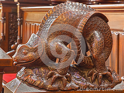 Bratislava - Reptile symbolic carved sculpture from bench in presbytery in st. Matins cathedral