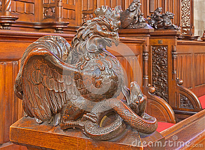 Bratsilava -  and snake symbolic carved sculpture from bench in presbytery of st. Matins cathedral