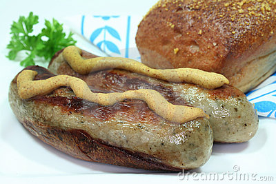 Bratwurst with mustard and bread