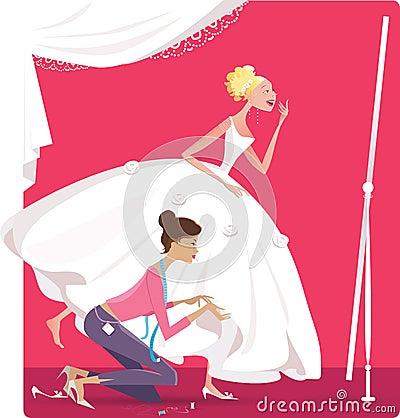 Braut, die ein Kleid befestigt