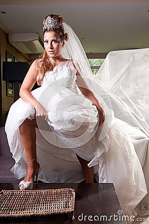 Braut mit großem Schleier