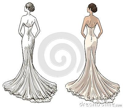 Braut schönes junges mädchen in einem hochzeitskleid langes kleid