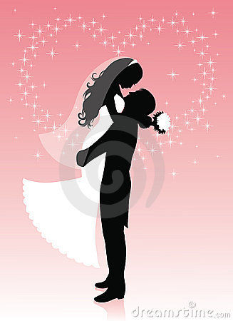 Braut und ein Bräutigam.