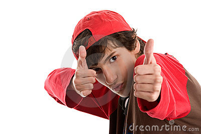 Brave boy shooting from thumbs up
