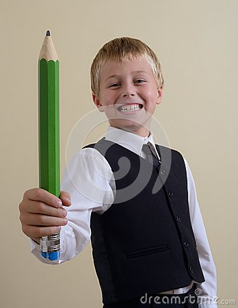 Brave schoolboy with pencil