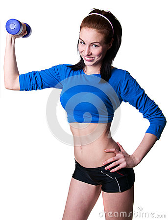 Brawny girl with dumbbell