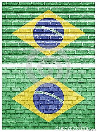 Brazil flag on different brick walls