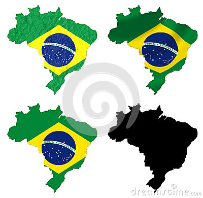 Brazil flag over map