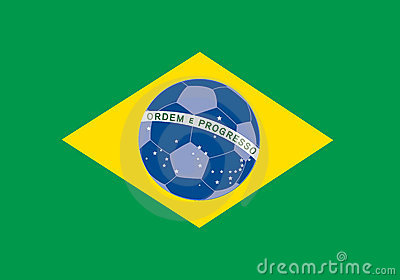Brazil flag with soccer ball on background