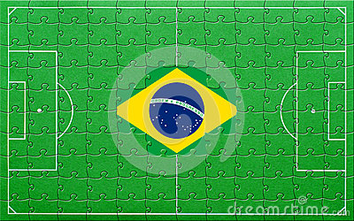 Brazil flag on soccer pitch